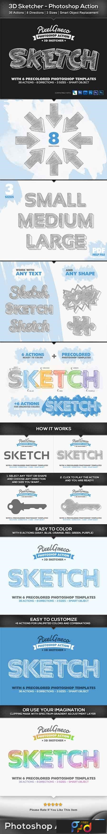 3D Sketcher - Photoshop Action 22510138 1