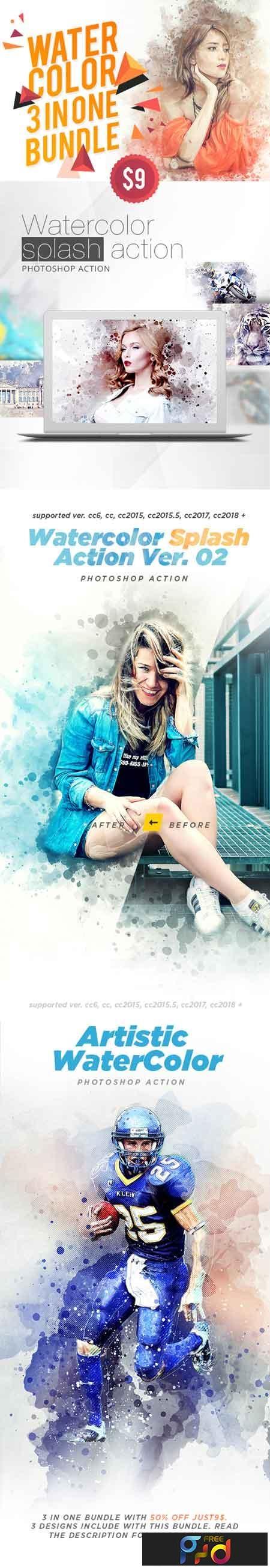 WaterColor 3 IN 1 Bundle Photoshop Action 22618267 1