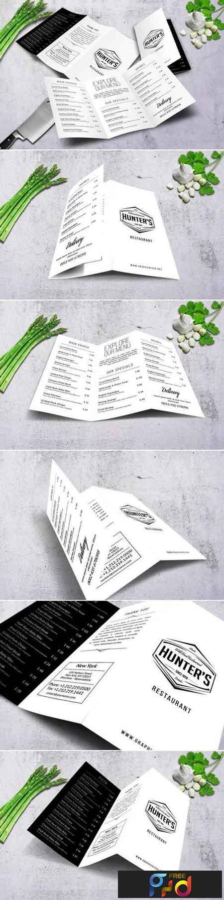 Minimal A4 Trifold Food Menu Design 1