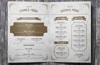 A4 Bifold Vintage Wild Food Menu 15720896 7
