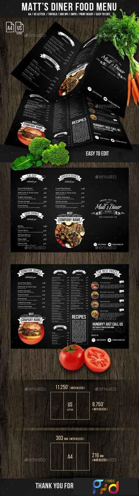 Matt's Diner Trifold A4 and US Letter Menu 21245528 1