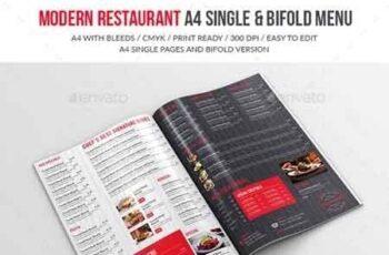 Modern Restaurant A4 Single And Bifold Menu 19268726 7