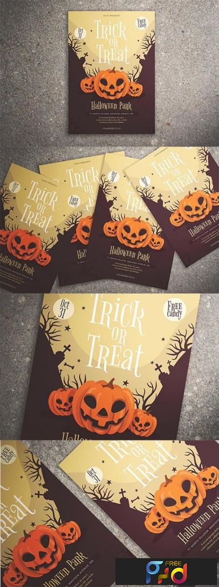 trick or treat halloween flyer 3002910 freepsdvn