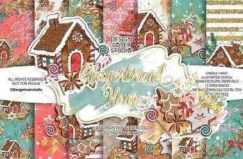 Gingerbread house digital paper pack 2940045 5