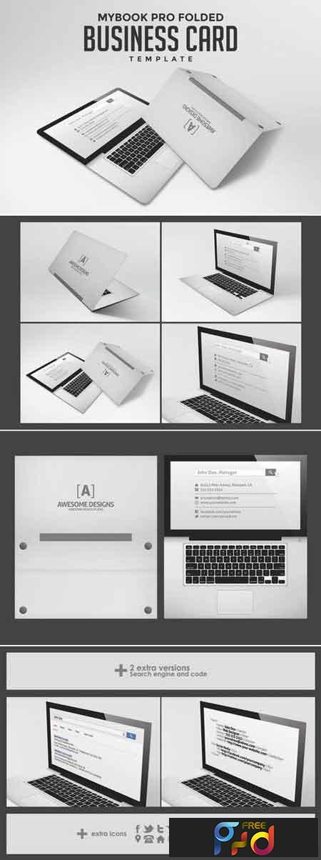 Laptop Folded Business Card Templates Freepsdvn