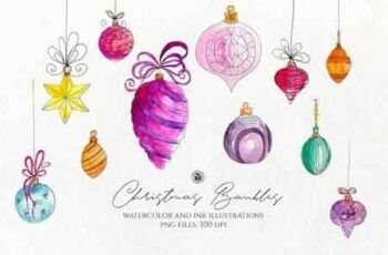 Christmas Watercolor Baubles 3022632 5