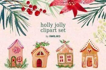 Gouache Christmas clipart set 2106962 3