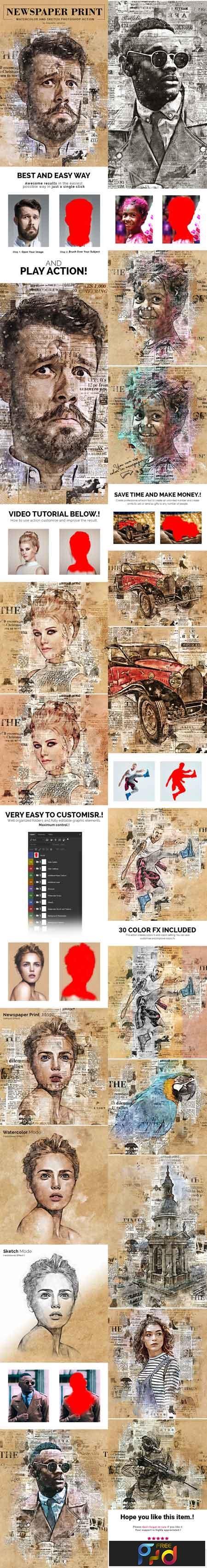 Newspaper Print Photoshop Action 22712187 1