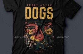 Three Astro Dogs T-Shirt Design 20994952 3