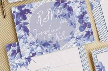 Chevron & China Blue Wedding Invitation 12977830 7