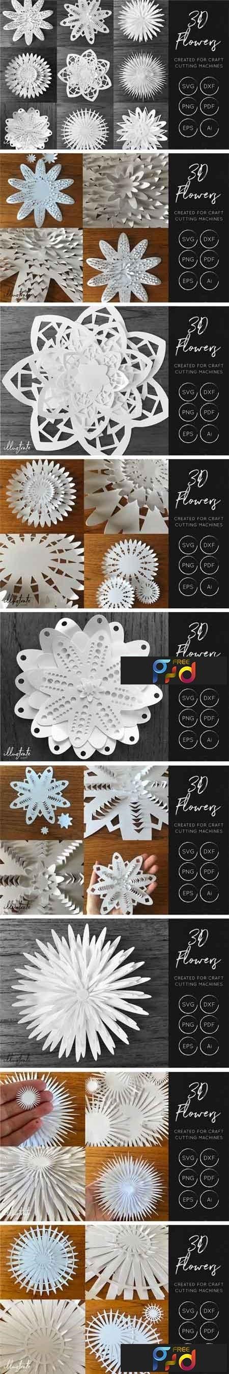 3D Flower SVG Cut Files 44342 1