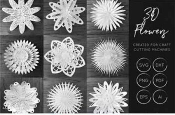 3D Flower SVG Cut Files 44342 4