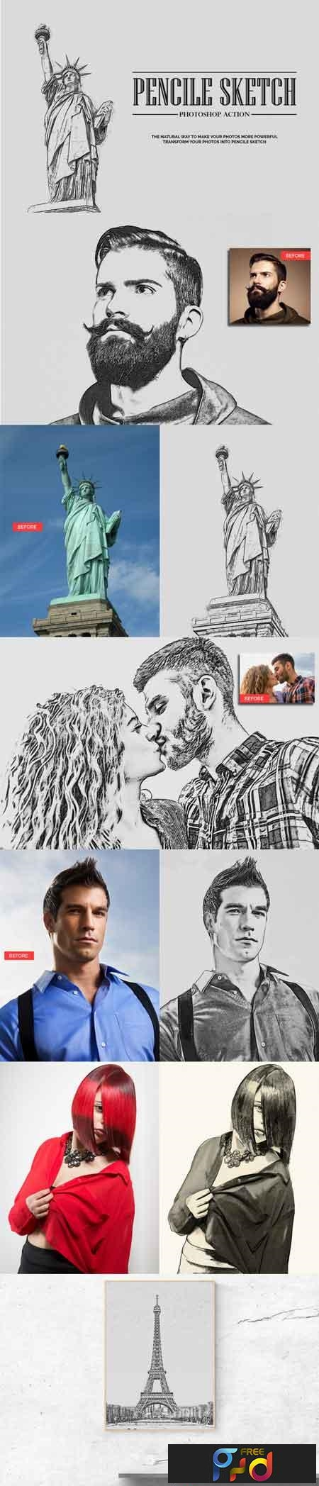 Pencil sketch photoshop action 3505096 1