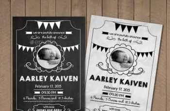 Blackboard Baby Announcement Card 11022472 7