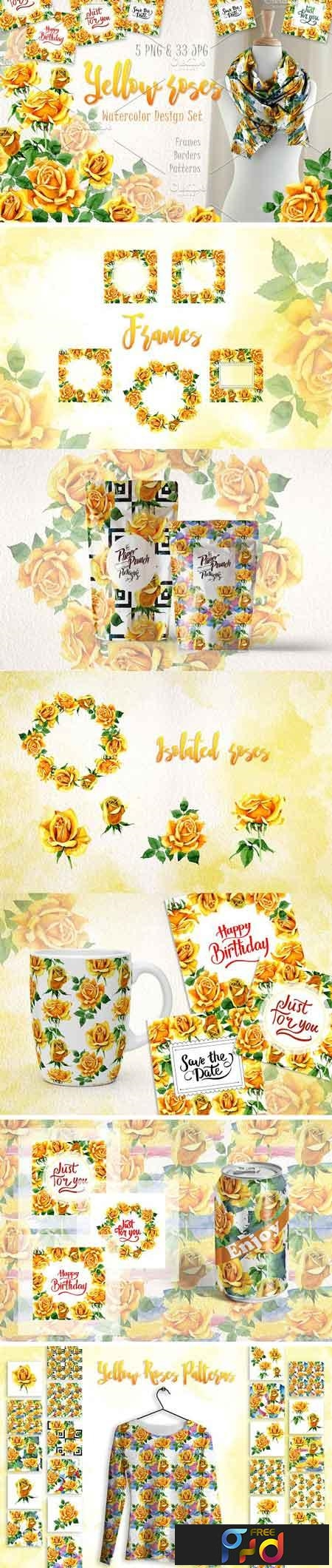Yellow Roses PNG watercolor set 2888879 1