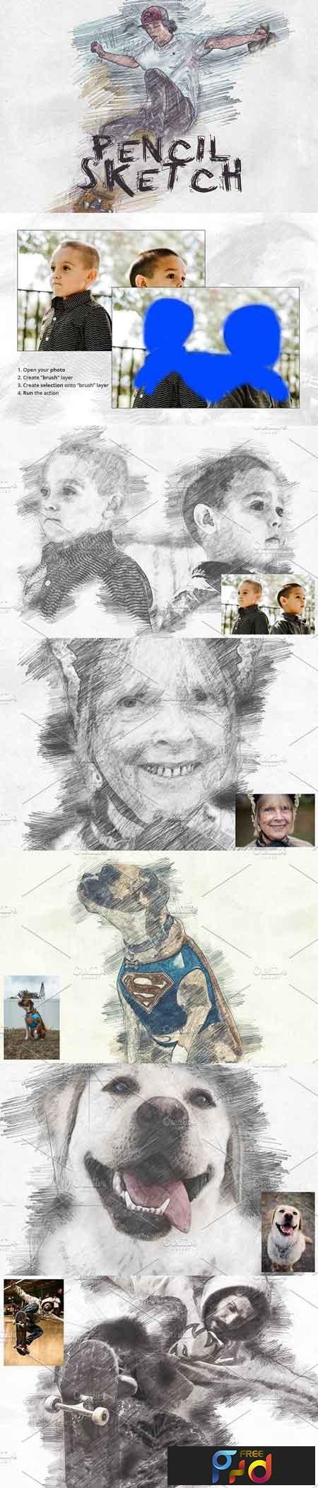 Pencil sketch photoshop action 3131294 1