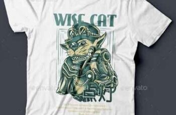 Wise Cat T-Shirt Design 22143150 4