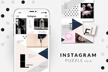 Instagram PUZZLE template Geometric 2958794 - FreePSDvn