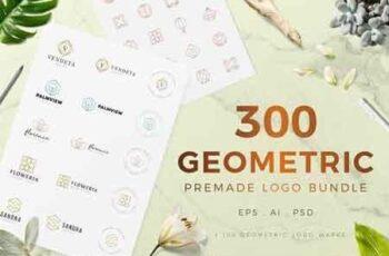300 Geometric Premade Logo Bundle 3155393 3