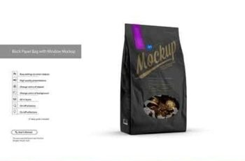 Black Paper Bag with Window Mockup 3159104 3