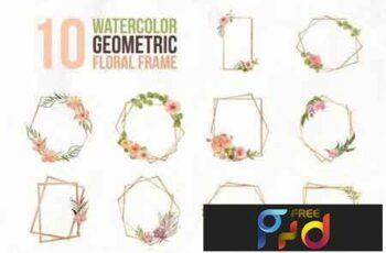10 Watercolor Geometric Floral Frame Illustration ZL8F52 3