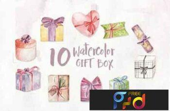 10 Watercolor Gift Box Illustration Graphics 4LJZXZ 3