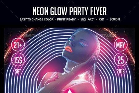 Neon Glow Party Flyer 22751389 - FreePSDvn
