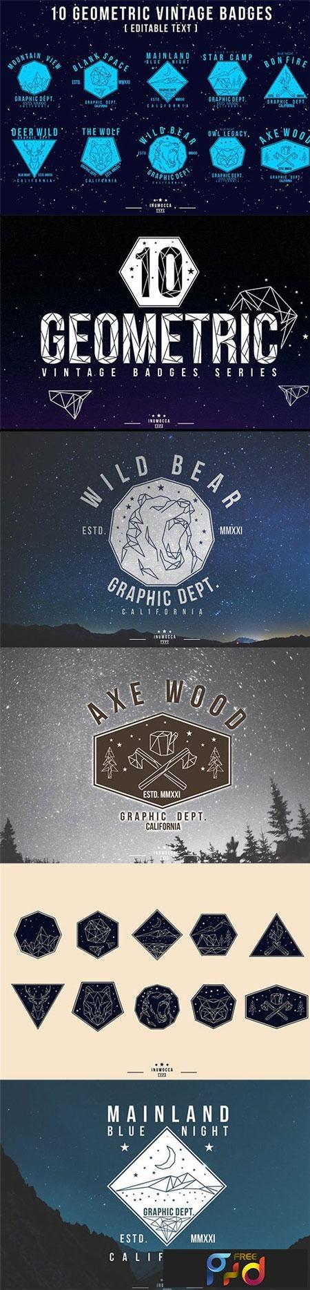 Geometric Vintage Badges (Editable text) SGCWFD 1