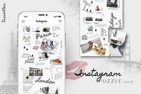 Instagram PUZZLE template - Traveller 2982001 - FreePSDvn