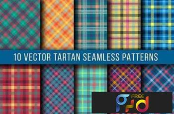10 Vector Tartan Seamless Patterns 6J375X 8