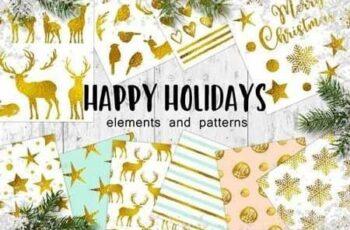 Happy Holidays Golden Christmas Design Kit 3509017 7