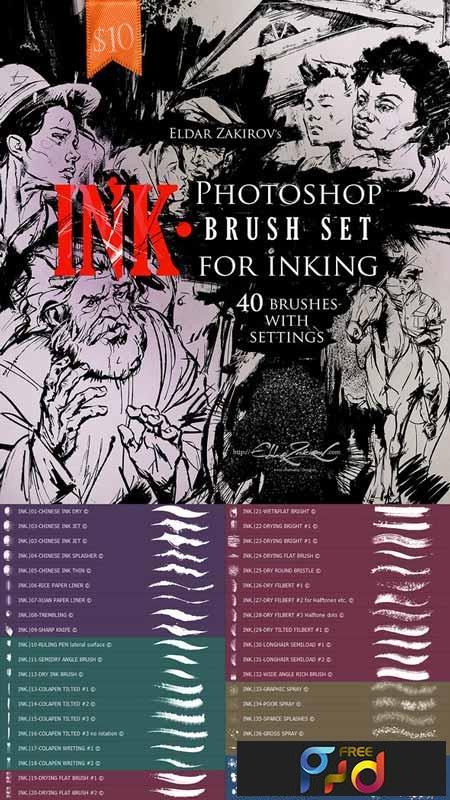 INK 40 Photoshop Brushes for Inking + Photoshop Action 22674425