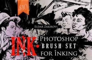 INK 40 Photoshop Brushes for Inking + Photoshop Action 22674425 10