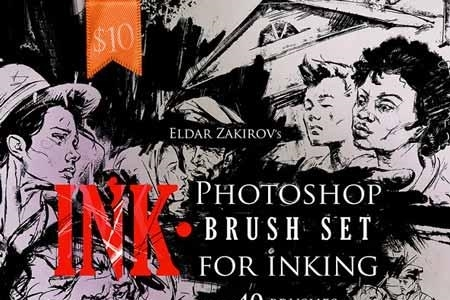 INK 40 Photoshop Brushes for Inking + Photoshop Action 22674425