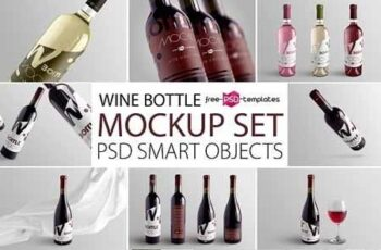 Wine Bottle Mockup Set 3130526 7