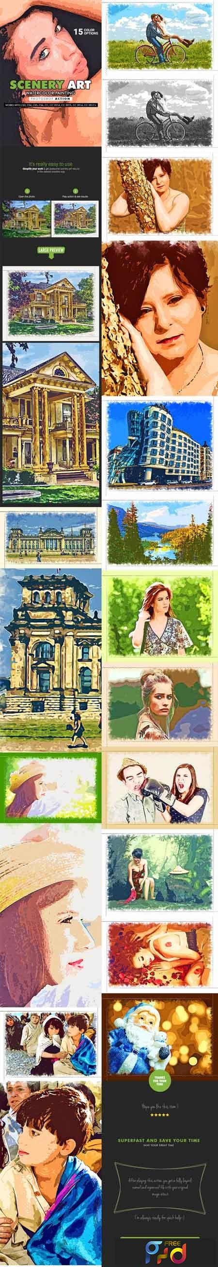 Scenery Art - Watercolor Painting Photoshop Action 19869916 1