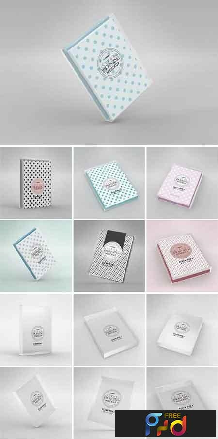 Clear Box Set with Stationery Packaging Mockup 22894363 1