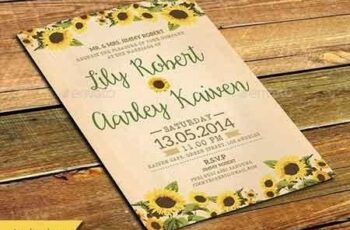 Sunflower Wedding Invitation & Post Card 11296659 4