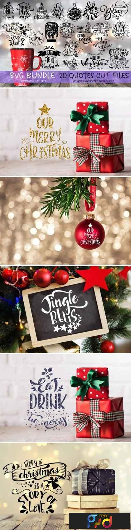 Christmas Quotes Svg Bundle 535971 Freepsdvn