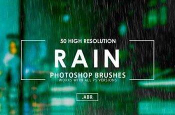 50 Rain Photoshop Brushes 3070624 5