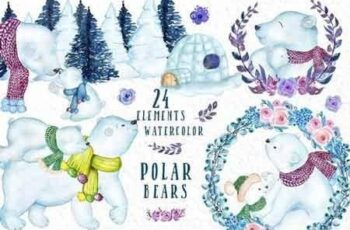 Watercolor Polar Bears clipart 3181345 8