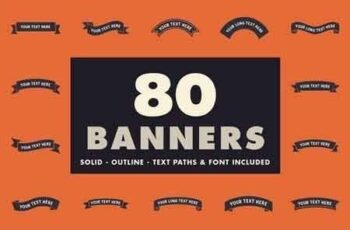 80 banners with text paths & font! 1596939 7