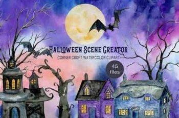 Watercolor Halloween Scene Creator 3034240 6