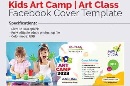 Kids Art Camp Facebook Cover Template 22820475 - FreePSDvn