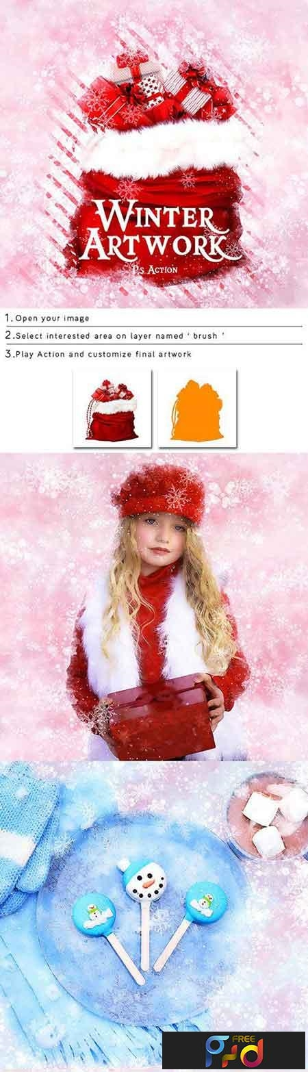 Merriness - Winter Artwork Photoshop Action 23050150 1