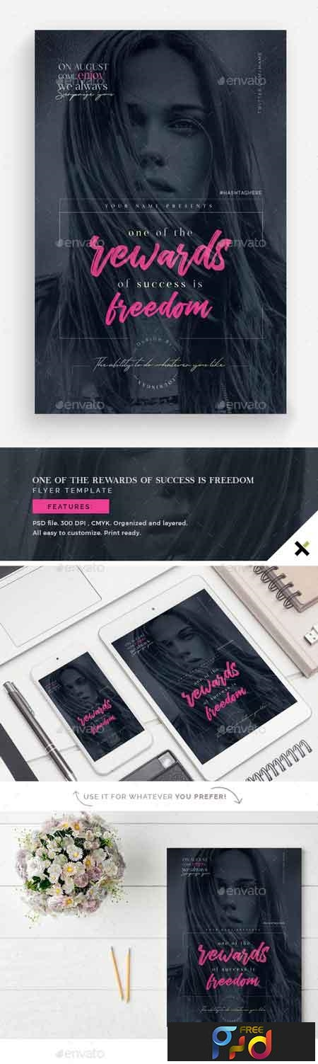 On Of the Rewards of Success is Freedom Flyer Template 22784523 1