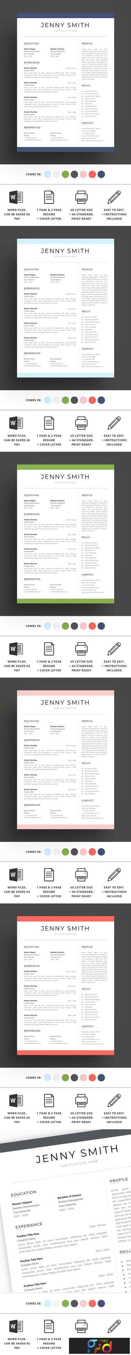 Resume Template Word Modern Clean CV 2684483 1