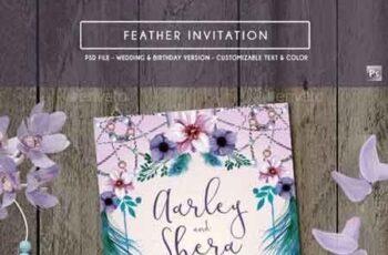 Feather Invitation (Wedding & Birthday) 17787089 6