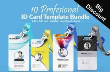 ID Card Bundle Template 10 cards 3058997 3