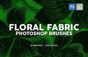 30 Floral Fabric Photoshop Stamp Brushes 5